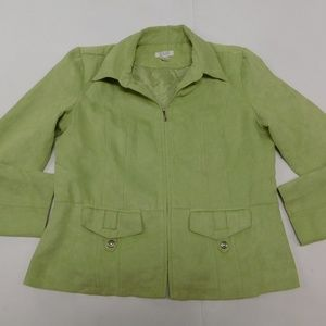 Christopher & Banks L Green Full Zip Jacket Microf
